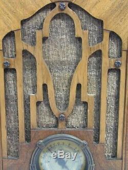 1935 Zenith Tombstone Tube Radio Model 807 All Original Working