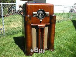 1938 BIG BLACK DIAL ZENITH 7S-363 OLD WOOD ANTIQUE CONSOLE TUBE RADIO WORKS EYE