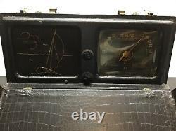 1940s Zenith Model 6G601M Portable Radio Wave Magnet Sailboat Black case