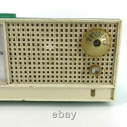1950s 60s Vintage Zenith Clock Radio Alarm Model S-51289 Teal Tube Tested Works