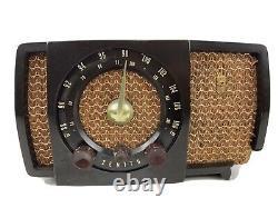 1950s Zenith Brown AM/FM Bakelite Tube Radio Model H723 Cracked Body Tested USA