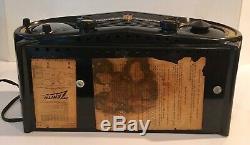 1952 EAMES ERA ZENITH DECO MID CENTURY Telechron CLOCK black bakelite TUBE RADIO