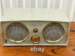 1956 Zenith Z512G Vintage Dual Speaker Tube Radio Grey Working