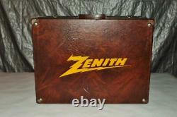 1960's Zenith Tube Carrying Case Repairman Tv Radio Crate Sign Service Box Parts