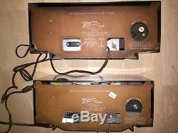 2 VINTAGE 1950s EAMES ERA ZENITH ART DECO MID CENTURY ANTIQUE ATOMIC TUBE RADIO