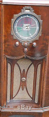 ANTIQUE 1936 ZENITH 12A57 AM CONSOLE TUBE RADIO BEAUTIFUL WORKING SEE VIDEO