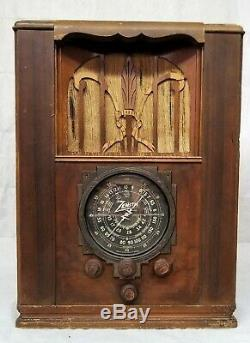 Antique 1930s Zenith Black Tombstone Dial Tube Radio Model 6S27 Working Cond