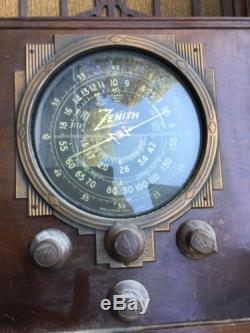 Antique 1936 Art Deco Zenith Tombstone Radio Model 6-S-27 6S27 Fine All Original