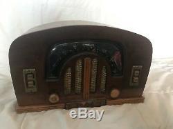 Antique Wood Zenith 6D2615 Tube Radio Art Deco Boomerang Dial Vintage Restore