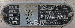 Antique Zenith 705 Wood Tube Table Radio Repair ca1933