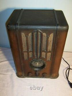 Antique Zenith Tombstone Wood Cabinet Tube Radio 1936 5s-29 As Found