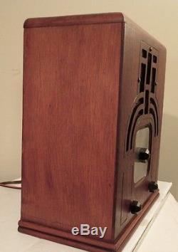Antique Zenith vintage tube radio in tombstone cabinet restored & working