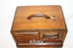 Antique Zennith 5-g-403 Tube Radio With Antenna In Very Good Working Condition