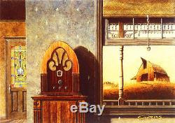 Cathedral Radio Philco RCA Zenith Tiffany Door Farm Barn Print SIGNED by Souders