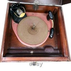 For Repair Vintage Zenith 5R086 Tube Radio Record Player Turntable Wooden Case