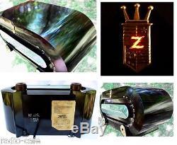 ICONIC 1951 ZENITH Racetrack Art Deco Bakelite Tube Radio ORIGINAL GEM