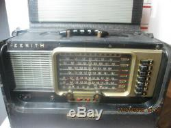 Q164 Vtg Zenith T600 Trans-Oceanic Wave Magnet Tube Radio Works Read B4U Bid