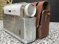 RARE 1950s ZENITH L401 Plastic Tube Radio & Case Mid Century Modern Chrome
