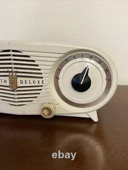 RARE! Zenith Deluxe Radio Alarm Clock- White 1952 Owl Eye Clock And Radio Work