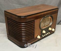 RARE beautiful, works! Zenith RACETRACK 1938 Tombstone vintage vacuum tube radio