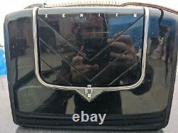 RaRe MCM Mid Century Vintage ZENITH Glass Tube Flip-Up Travel Case AM RADIO G503