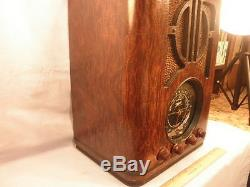 Rare 6-J-230 Zenith BIG DIAL Wooden Tombstone AC/DC AM/SW Radio from 1937 NR