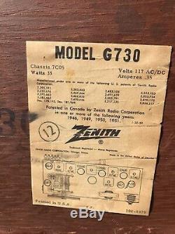 Stunning ZENITH G730 Am Fm Vacuum Tube WOOD Radio Chassis 7C05