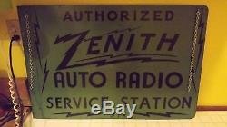 VERY RARE Zenith Auto Radio Service 2 Sided Heavy Metal Flange Advertising Sign