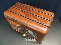 VINTAGE 1930s ZENITH LARGE BLACK DIAL UNIQUE WOOD PATTERNED OLD TUBE RADIO L@@K
