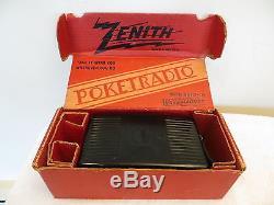 VINTAGE 1940s ANTIQUE ZENITH MID CENTURY ART DECO CHROME TYPE RADIO IN BOX