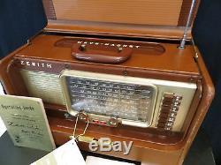 VINTAGE 1950s ZENITH SHORTWAVE BROWN LEATHER ANTIQUE TRANSOCEANIC RADIO