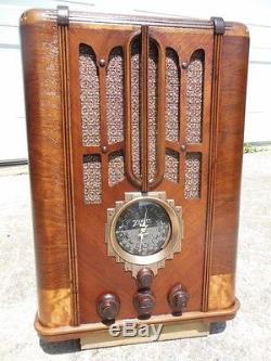 VINTAGE ZENITH 5S29 TOMBSTONE BLACK DIAL WOOD ANTIQUE TUBE RADIO 1936 DECO