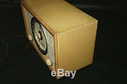 VINTAGE ZENITH TUBE RADIO High Fidelity A835E Fabric Face with Blonde Wood Case