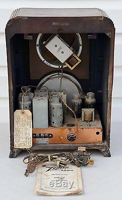 VTG (1937) Zenith 5F134 Black Dial Shortwave Tombstone Tube Radio FARM SET