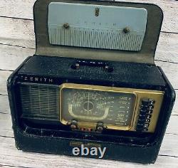 VTG 50s Zenith Transoceanic Wave Magnet Radio #H500 Chassis 5H40 With Headphones