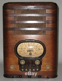Vintage 1938 Zenith Tombstome Gold Racetrack Model 5S327 Tube Radio Works AN93
