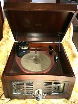 Vintage 1949 Vintage Zenith 5R086 Tube Radio Record Player Turntable Works