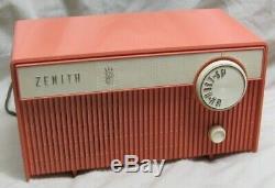 Vintage 1950's ZENITH F508V Tube Radio RARE Pink/Salmon/coral COLOR Works fine