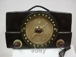 Vintage 1950's Zenith H725 Bakelite Tube FM Radio WORKS READ