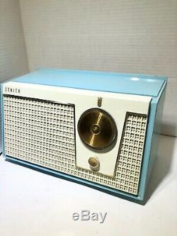 Vintage 1950's Zenith Tube Radio Aqua Blue Brass Dials