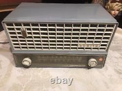 Vintage 1950s Zenith #s-41786 am/fm Table Radio WORKING BLUE GRAY