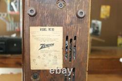 Vintage 1959 ZENITH 7 Tube Radio Model M730 AM/FM Wood Cabinet Mid Century