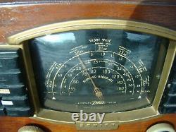 Vintage Art Deco Wood ZENITH model 7S633 Shortwave AM Tube Radio