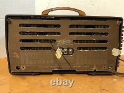 Vintage Brown Bakelite Zenith Long Distance Short Wave Radio Model 2-37 6S511