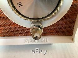 Vintage MCM Mid Century Modern 1950s Zenith Clock Radio Orange White Working