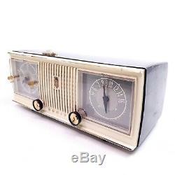 Vintage Tube Radio Clock Mid Century Modern 1956 Zenith C519 AM Gray Tabletop