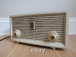 Vintage ZENITH tube radio The Majorette white B508W AM retro MCM 1957 WORKS