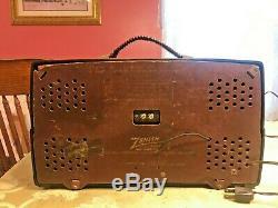 Vintage Zenith AM/FM Bakelite S-17787 tube radio Art Deco, copper arrow dial