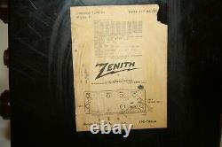 Vintage Zenith AM FM Tube Radio, Model H724, 30 Watts, Tested Works