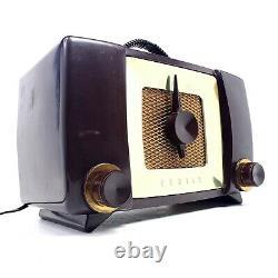 Vintage Zenith AM Tube Radio H615 Bakelite Gold MCM Mid Century Modern Works